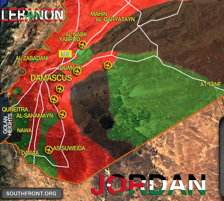 Focus sur la situation militaire au sud de la Syrie, le 15/03/2017. En rouge les zones sous le contrôle des forces gouvernementales ; en vert de la rebellion syrienne ; en noir de l'EI ; en bleu d'Israël (Golan).
