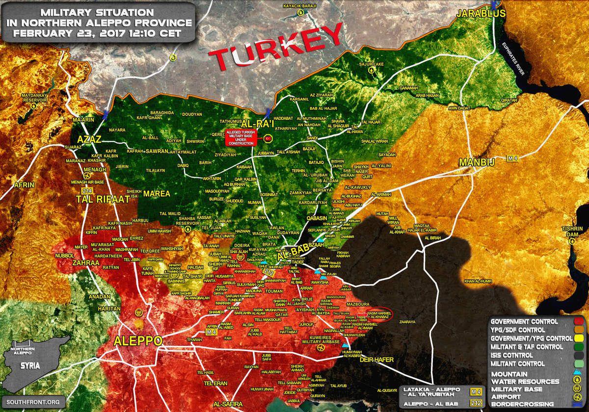 Situation militaire au nord du gouvernorat d'Alep, le 23/02/2017. En rouge les zones sous le contrôle des forces gouvernementales ; en jaune des FDS ; en vert foncé de l'ASL ; en vert clair de la rebellion syrienne ; en noir de l'EI.