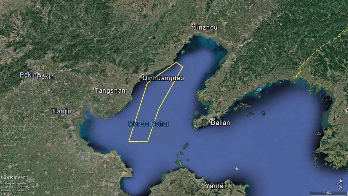 La zone fermée pour l'entraînement du porte-avions Liaoning (source : East Pendulum)
