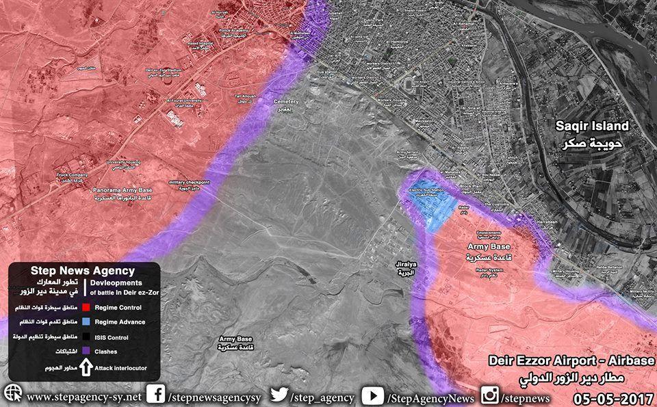 Situation militaire à Deir ez-Zor le 05/05/2017. En noir : l'Etat islamique ; en rouge : les forces gouvernementales ; en bleu : les avancées des forces gouvernementales ; en violet : les zones de combat. Les deux poches ont depuis fait jonction.