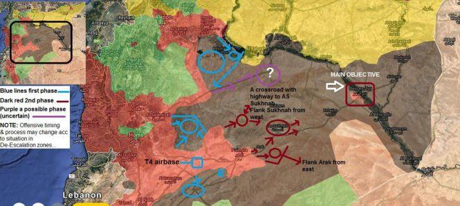 Mouvements potentiels des forces gouvernementales. En bleu : la première phase des opérations ; en rouge foncé : la deuxième ; en violet : la troisième potentielle. Syrian Generation.