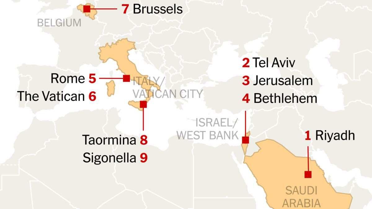 Carte des déplacements de Donald Trump par The New York Times.