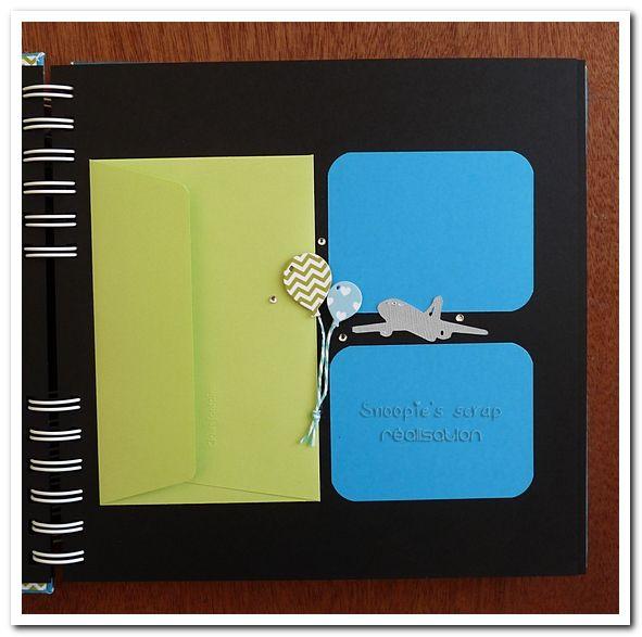 Livre d'or Baptême - Noam - turquoise, vert, blanc et touches de gris - avions