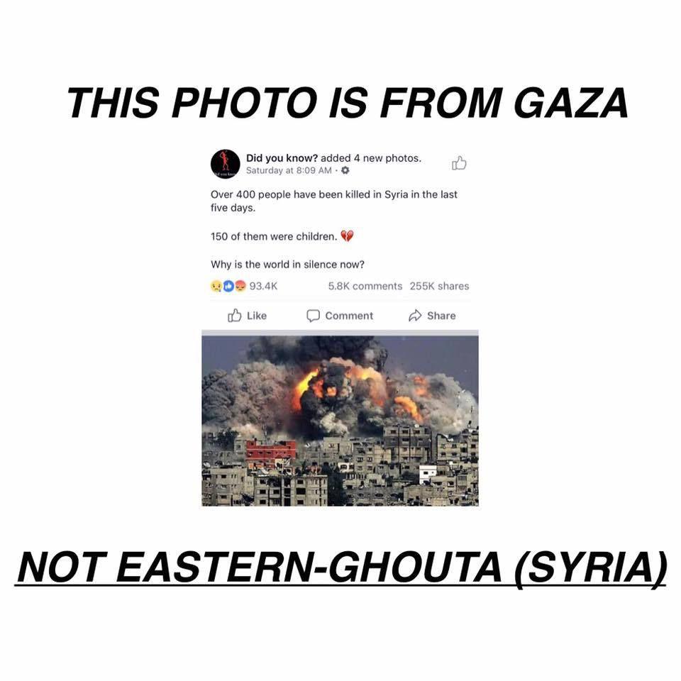 Une photo des bombardements de Gaza par les forces aériennes israélienne en 2012 réutilisée avec une légende affirmant qu'il s'agirait de bombardements sur la Ghouta