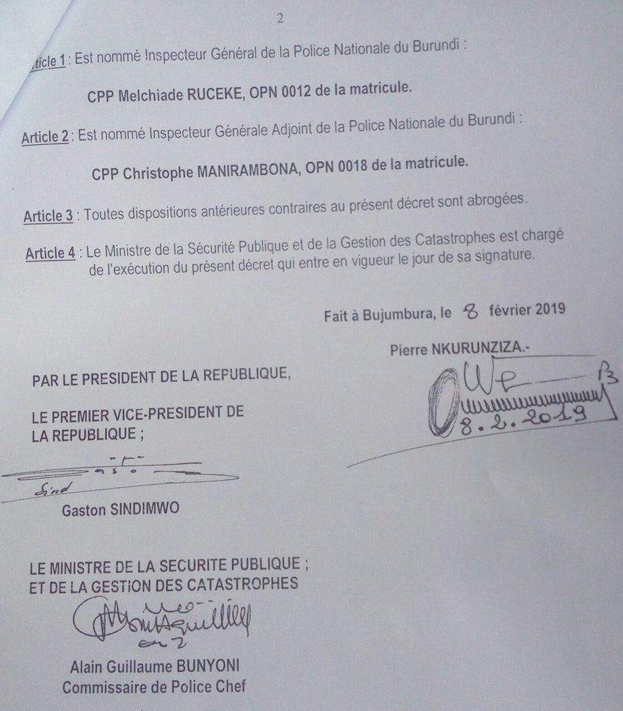 Nomination des nouveaux dirigeants de la PNB: CPP Ruceke Melchiade et CPP Manirambona Christophe
