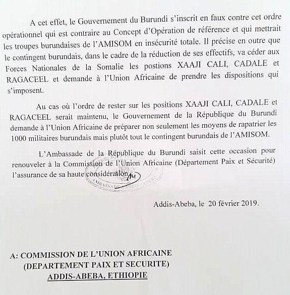 Le Burundi informe l'UA de préparer le rapatriement immédiat de tout le contingent de soldats burundais