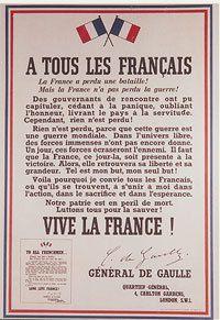 Appel du 18 juin 1940 du Général du Gaulle.
