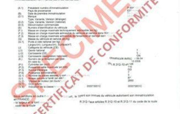 Certificat de Conformité pour la Préfecture