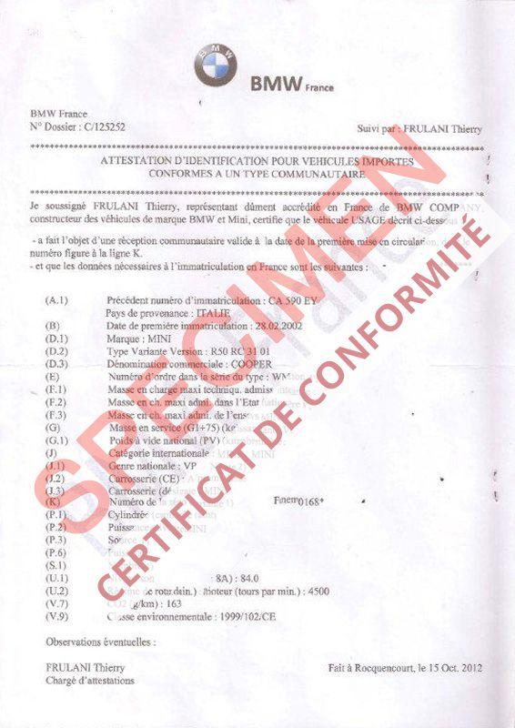 Certificat de conformité Auto