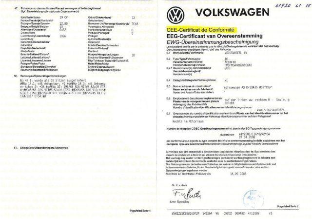 COC Certificat de Conformité VW