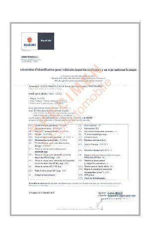 Certificat de Conformité Suzuki Gratuit
