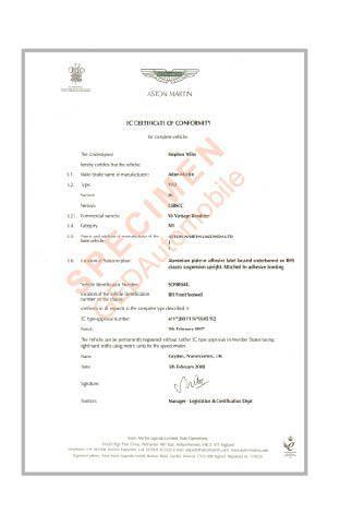 Certificat de Conformité Aston Martin Gratuit