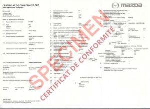 Comment obtenir un certificat de conformité Mazda Gratuit
