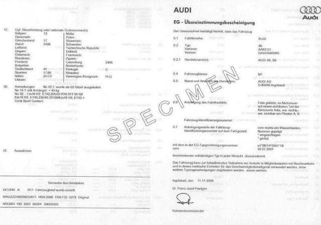 COC Certificat de Conformité Audi