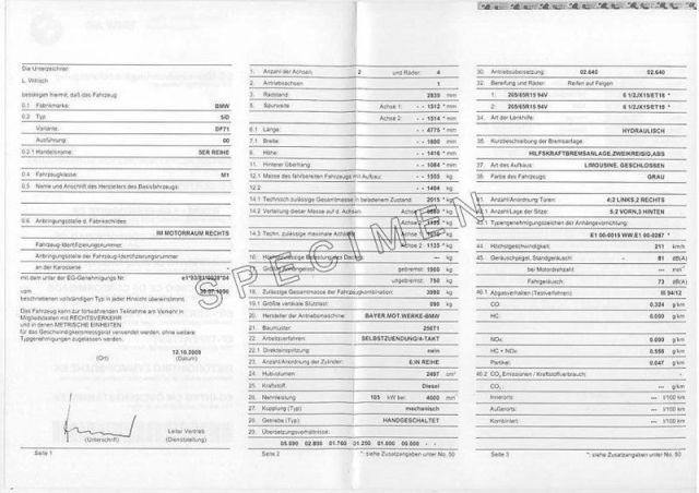 certificat de conformité européen bmw