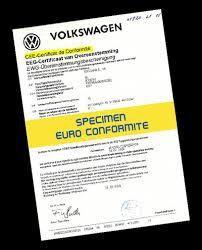 Certificat de Conformitéeuropéen Volkswagen