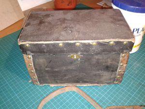 Gros nettoyage et restauration de la toile et du carton de cette boîte. Les clous manquants n'ont pas été remplacés