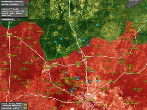 Situation militaire au nord de Hama le 23/03 et 02/05/2017. En rouge : les forces gouvernementales ; en vert : les rebelles (cliquez pour agrandir).