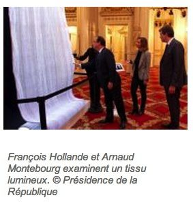 Luminous fiber optic presented to the Elysee Palace.