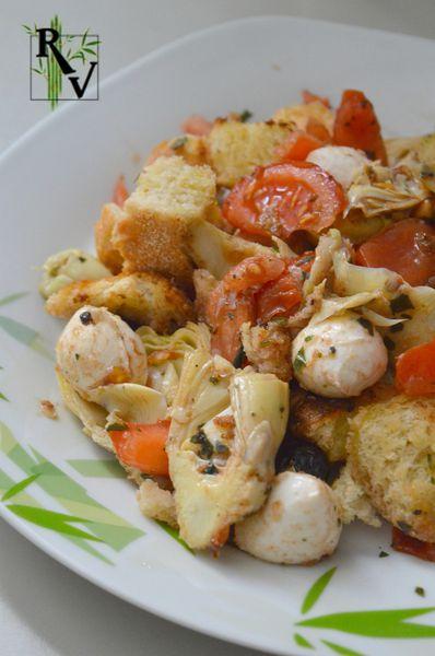 Panzanella aux Coeurs d'Artichaut & Mozzarella