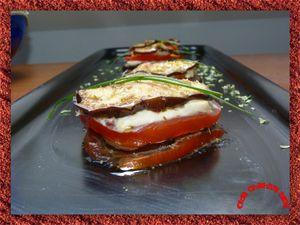 mille-feuille de mozarella tomates et aubergines