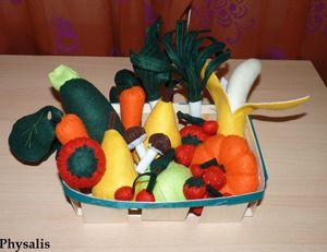 panier fruits et légumes en feutrine