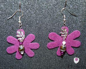 boucle d'oreille feutrine violette
