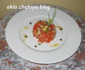 tartare de tomates & asperges violettes