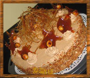 caramel et noisettes gâteau