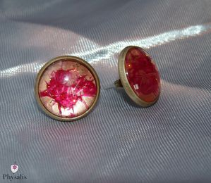 boucle d'oreille rouge or