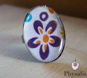 bague tissus fleur