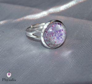 bague violet paillette