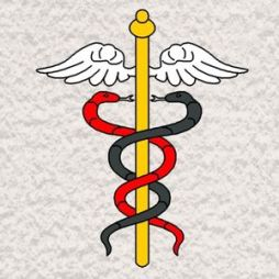 La légende rapporte Caducée d'Hermès qu'Apollon échangea avec Hermès son demi-frère une baguette en or contre une lyre. Hermès l'utilise un jour pour séparer deux serpents, mais ces serpents s'y enroulent en sens inverse. La symbolique s'installa par la suite, et l'emblème du Dieu grec Hermès (Mercure pour les romains) accompagna toujours Hermès. A l'origine il est représenté par un bâton de laurier ou d'olivier avec ses branches. Ensuite les branches sont enroulées autour du bâton pour figurer les deux serpents entrelacés, il est surmonté de deux ailes, symbolisant la vélocité d'Hermès le messager des dieux.
