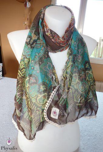 foulard vert marron