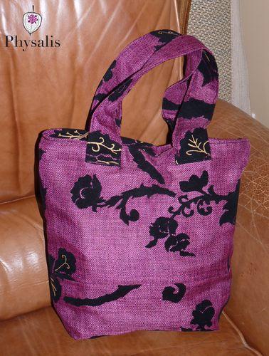 sac cabas violet noir