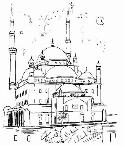Free mosque picture coloring pages