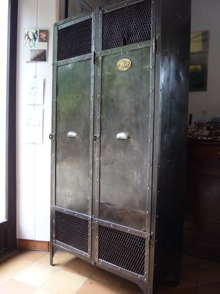 VESTIAIRE METAL RIVETE 2 PORTES GRILLAGE INDUSTRIEL