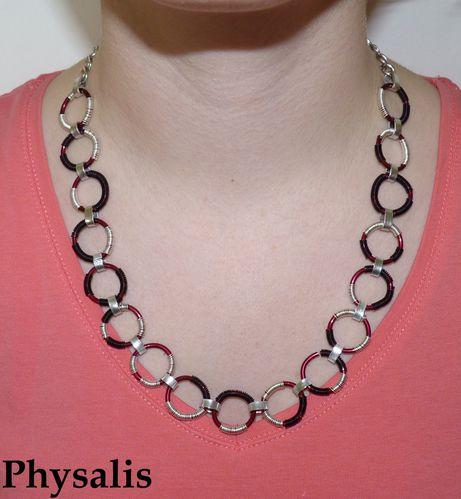 collier anneau bordeau noir argent
