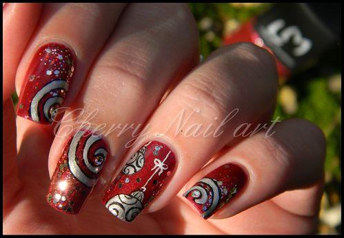 noel inspiration cherry nail art