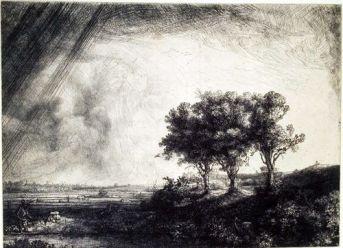 Le Paysage aux trois arbres Signé et daté en bas vers la gauche Rembrandt f 1643 Eau-forte, pointe sèche, burin et morsure à la fleur de soufre. 212 x 283 mm B.N.F.