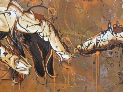 Partie de la fresque de street-art à Bricklane - Londre