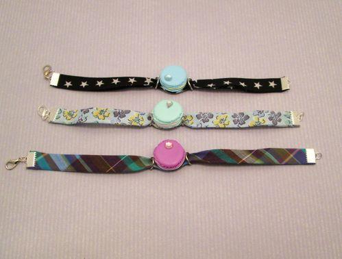 Bracelet biais macaron et strass