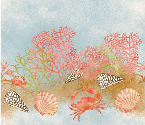 tissu echantillon detail motif corail 4