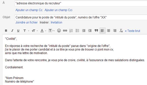 introduire cv lettre de motivation par mail