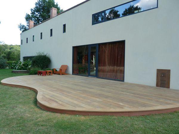 terrasse en bois arrondie Yvelines 78 lames ipe extra large  France terrasse bois