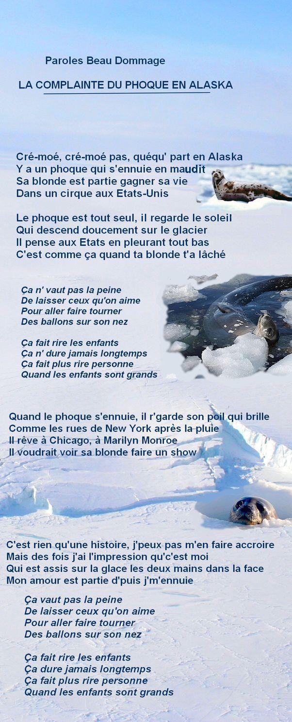 La Complainte Du Phoque En Alaska Beau Dommage Parole