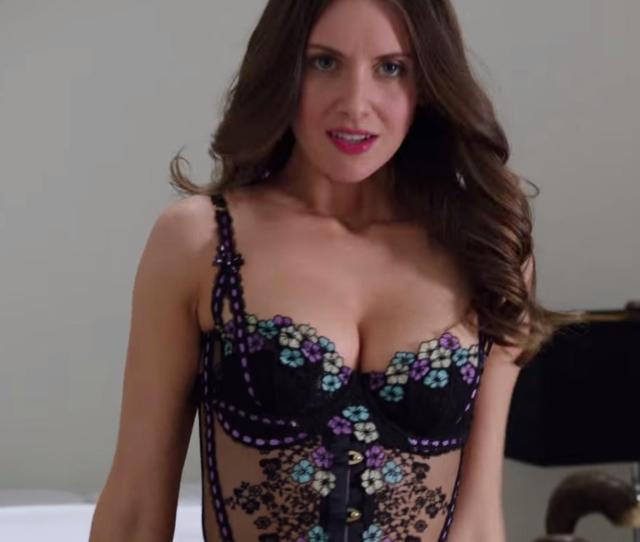 Alison Brie Half Nude Posing In Sexy Transparent Corset