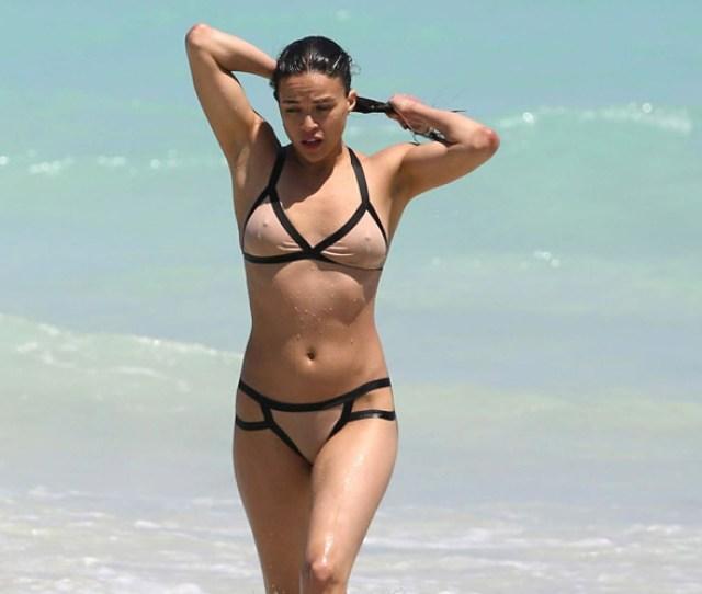 Michelle Rodriguez Hot In Tight Wet Bikini