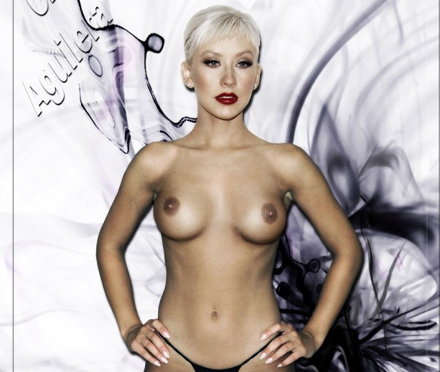 Christina Aguilera Nude Tits While Posing In Slutty Thong