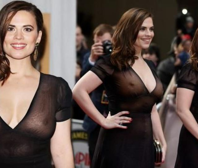 Hayley Atwell Nude Boobs Showing Under Dress In